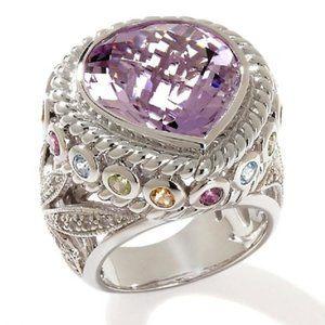 Sima K 13.48ct Amethyst & Multigemstone Ring
